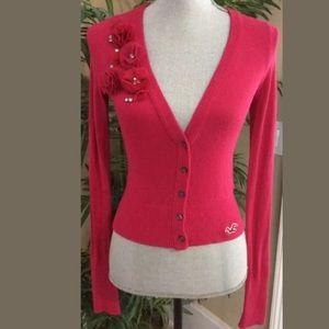 Hollister Sweater Cardigan Pink Diamonds